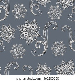 Seamless texture with lace pattern in floral style. Suitable for design: cloth, web, wallpaper, wrapping. Vector illustration.