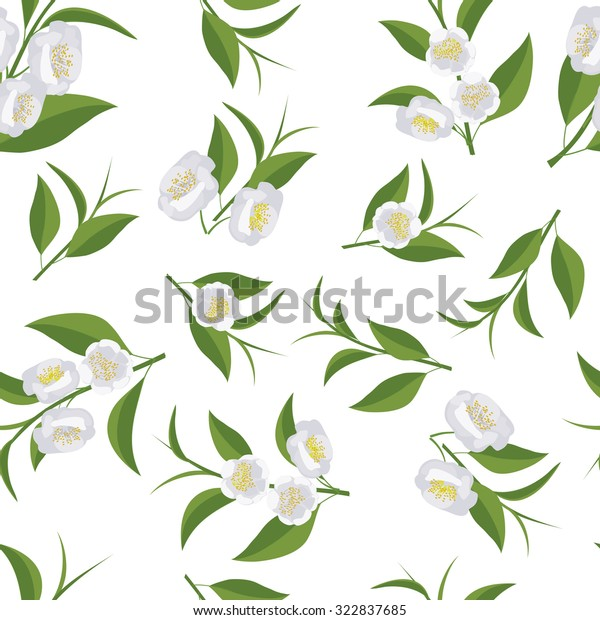 Seamless Texture Leaves Flowers Tea Camellia Stock Vector Royalty Free 322837685