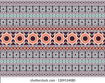 Seamless texture with luxury arabic ornament. Vector border pattern