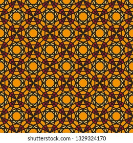 Seamless texture with luxury gold arabic ornament. Vector oriental geometric mosaic pattern