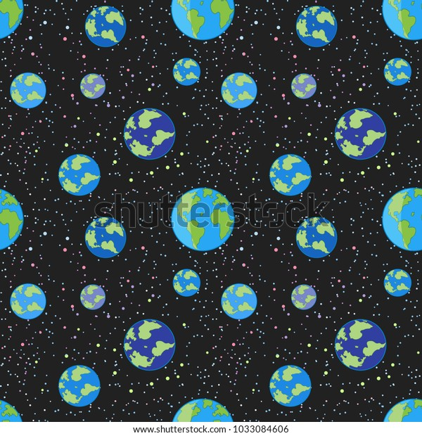 Seamless Texture Many Earth Planet On Stock Vector (Royalty