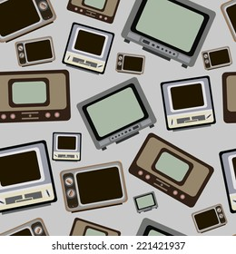 Seamless texture with old vintage retro TVs