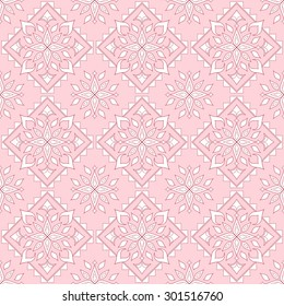 Seamless texture on a pink background. Element for design. Ornamental backdrop. Pattern fill. Ornate floral decor for wallpaper. Traditional decor on pink background.