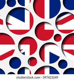 Seamless texture - paper cut circles. British flag. Background for web, banner, cards, e-mail etc.