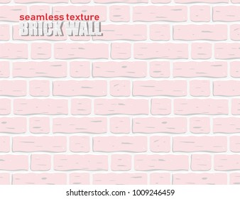 Seamless texture pattern light pink colored brick wall vector background. EPS 10