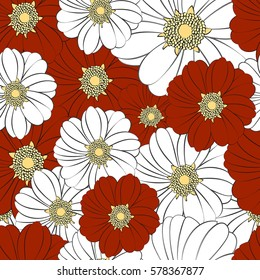 Seamless texture with a pattern of summer flowers