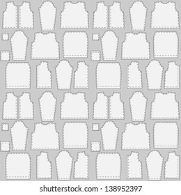 Seamless texture patterns clothing. Details of clothes on a gray background