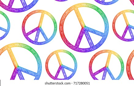 Seamless texture with rainbow symbol of peace and a boho pattern on a white background. Vector element for fabrics, wallpaper, wrapping paper and your creativity