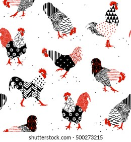Seamless texture with roosters patterns are drawn by hand. Rooster - a symbol of 2017 for your design