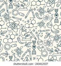 seamless texture for scince, vector illustration, hand drawn doodle style