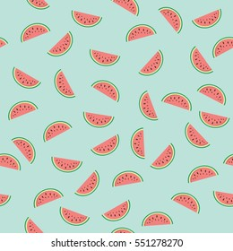 Seamless texture with slices of watermelon. Vector.