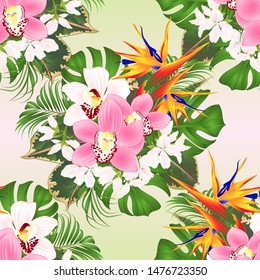 Seamless texture tropical flowers  floral arrangement with beautiful Strelitzia  and white and pink orchids Cymbidium  palm,philodendron and ficus vintage vector illustration  editable hand draw