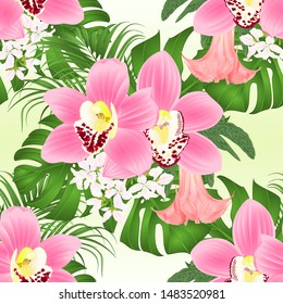 Seamless texture with tropical flowers  floral arrangement, with beautiful pink orchids cymbidium, palm,philodendron and Brugmansia  vintage vector illustration  editable hand draw