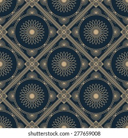 Seamless texture with vintage geometric ornament. Vector lineart pattern