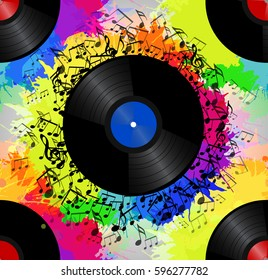 Seamless texture with a vinyl record, music notes and rainbow watercolor splash. Vector musical pattern for your  creativity
