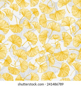Seamless texture with yellow ginkgo leaves. Can be used for wallpaper, pattern fills, textile, web page background, surface textures. Vector illustration.