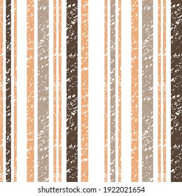 Seamless textured autumn striped pattern, brown with orange stripe on a white background, for wrapping, wallpaper, textile.vector grunge stripes,