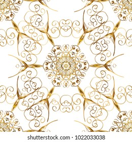 Seamless textured curls. Oriental style arabesques golden pattern on a white and yellow colors with golden elements. Vector golden pattern.
