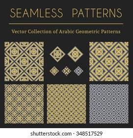 Seamless textures collection with geometric arabic ornaments. Vector patterns