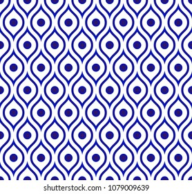 seamless Thai pattern, Abstract blue and white modern shape background for design, porcelain, chinaware, ceramic tile, ceiling, texture, wall, paper silk and fabric, vector illustration