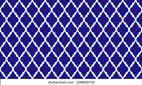 seamless Thai pattern, blue and white modern shape for design, porcelain, chinaware, ceramic tile, ceiling design, texture, wall, paper and fabric, vector illustration