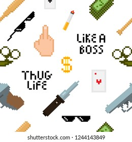 Seamless thug life pattern with retro pixel images of gun, money, finger, black sunglasses. Vector illustration for your graphic design.