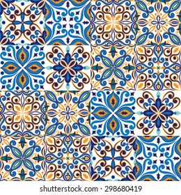 Seamless tile background, blue, white, orange Arabic, Indian patterns, Mexican talavera tiles