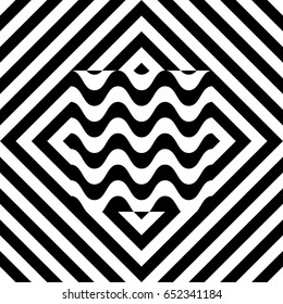 Seamless tile with black white striped diagonal lines, square and geometric shape in center. Figurative element, abstract pattern, op art style. Vector background, artwork with optical illusion effect