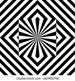 Seamless tile with black white striped diagonal lines, square and geometric shape in center. Figurative element, abstract pattern in op art. Vector background, artwork with optical illusion effect.