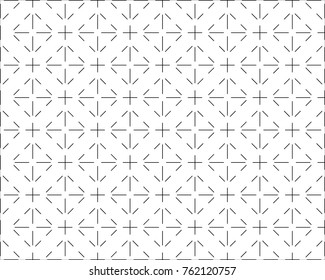 Seamless tile line pattern vector. Design black on white background. Print for textile, wallpaper, fashion.