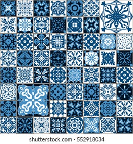 Seamless tile pattern. Colorful lisbon, mediterranean floral ornament pattern. Square flower blue mosaic. Islam, Arabic, Indian, Turkish, Pakistan, Chinese Moroccan, Portuguese Ottoman motifs. vector.