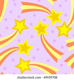 Seamless, tileable and fully repeatable vector illustration of colorful shooting stars