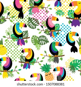Seamless, Tileable Tropical Vector Pattern with Flamingos, Toucans, Cacti and Tropical Leaves