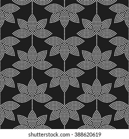 Seamless tiled black and white mosaic background of lotus flower in garlands. Dotted pattern. Vector Illustration.