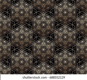 Seamless tiled pattern of Japanese traditional lattice ornament. Sacred geometry oriental trellis print. Abstract Golden gradient background of intersected shapes in Asian style. Vector Illustration.