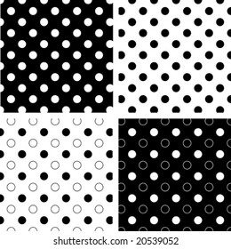 Seamless Tiles, Black and White Polka Dots on reverse backgrounds.  EPS8 includes four pattern swatches (tiles) that will seamlessly fill any shape.