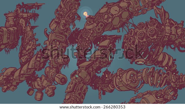 A seamless tiling background pattern vector illustration of intertwining vines or tentacles of decaying anime sci fi cyberpunk techno junk. Good for wallpaper, backdrop, textile, etc. HD Dimensions!