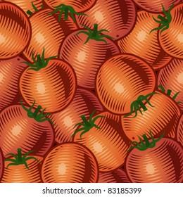 Seamless tomato background. Vector