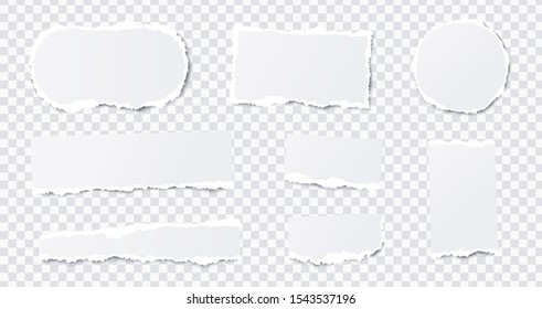 Seamless torn ripped paper layered isolated. Stripes, round, rectangular paper scraps. White color. Transparent background. Realistic template. Simple modern design. Flat style vector illustration.