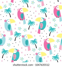 seamless toucan and palm summer pattern vector illustration