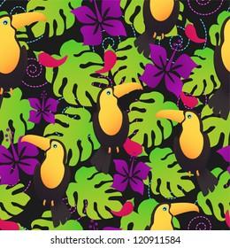 Seamless toucan tropical pattern