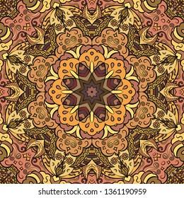 Seamless tracery tile mehndi design. Ethnic ornament, colorful doodle symmetry texture. Folk traditional spiritual tribal design. Curved doodling mehndi motif. Color art. Vector.