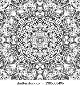 Seamless tracery tile mehndi design. Ethnic ornament, doodle symmetry texture. Folk traditional spiritual tribal design. Curved doodling motif. Binary monochrome black and white art. Vector