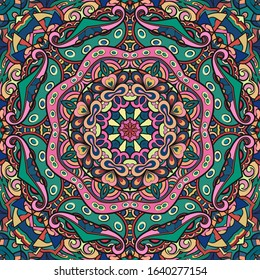 Seamless tracery tile mehndi design. Ethnic ornament, colorful doodle symmetry texture. Folk traditional spiritual tribal design. Curved doodling motif. Color art. Vector