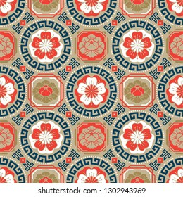 Seamless traditional asian ornamental motive, japanese, chinese or korean and more. Geometric pattern with repeating elements. Elegant luxury tiled design, best for print fabric or papper and more.