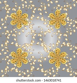 Seamless. Traditional classic on gray and yellow colors ornament element. Vintage pattern with arabesques. Oriental vector pattern with arabesques and floral elements.