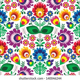 Seamless traditional floral polish folk pattern - ethnic background
