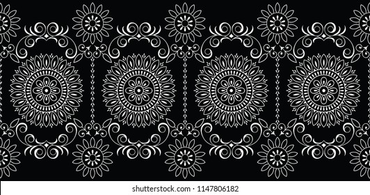 Seamless traditional indian black and white border