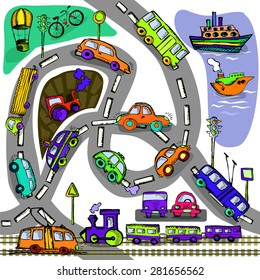 Seamless transport a child's drawing. Vector