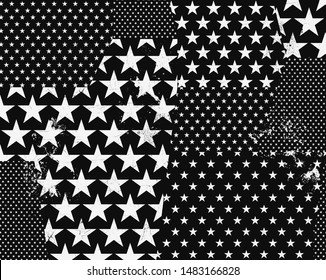 seamless trashed star vector pattern